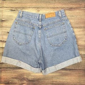 VTG Riders High Waisted Rolled Cuff Denim Shorts